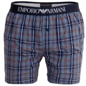 Armani Woven Boxer Blue Checked * Fri Frakt *