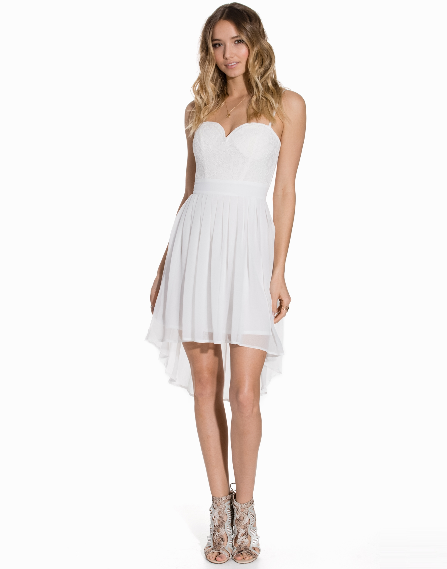 Elise Ryan Lace Bustier Chiffon Dress Skater Dresses Ivory